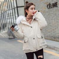 冬季面包服宽松韩版bf棉衣女短款毛领学生加厚工装棉袄外套潮 M 建议80-110斤