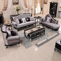 品质保证|7天无理由退换欧式沙发新古典实木布艺沙发三人沙发组合客厅家具 黑色描银