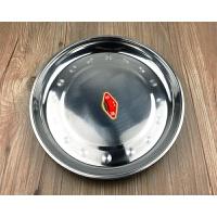 不锈钢盘子 家用圆形菜盘餐碟平盘果盘 商用烧烤铁盘深盘饭店