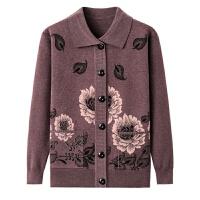 中老年人女装毛衣秋冬加厚针织开衫翻领外套60-70岁80奶奶毛线衣
