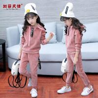 女童秋装套装2018新款韩版时尚中大儿童装秋冬季金丝绒运动两件套