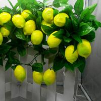 仿真花艺 假花藤条客厅玫瑰花水果葡萄叶藤蔓 塑料假花干花摆件 婚庆装饰花壁 柠檬