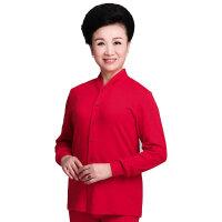 本命年大红色秋衣秋裤女纯棉开衫中老人薄款大码保暖内衣套装