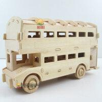 木制组装仿真mini公交车儿童玩具 木头拼装迷你汽车模型双层巴士