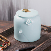 景德镇陶瓷影青茶叶罐大号普洱存茶罐家用密封罐装小号茶叶罐