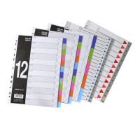 金得利T010A-P 单色分类卡 10/12/20页彩色塑料分页纸 11孔索引纸 隔页纸A4办公用品多款可选