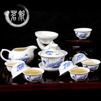 茶具套装 功夫茶具 陶瓷茶杯套装白瓷整套青花瓷茶杯盖碗茶具 湖蓝色 12头茶具【荷塘】
