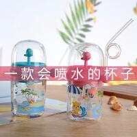 鲸鱼喷水杯儿童带吸管水杯夏季便携小孩宝宝可爱水杯