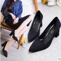 抖音同款新款浅口尖头高跟鞋粗跟甜美女鞋子绒面性感高跟单鞋女