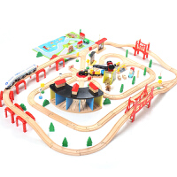 儿童木质火车轨道玩具积木拼装套装木头汽车木制小火车电动轨道车定制 130件轨道 额外送地垫和电动火车