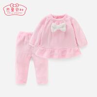 婴儿家居服冬女孩套装保暖秋冬加绒宝宝法兰绒睡衣