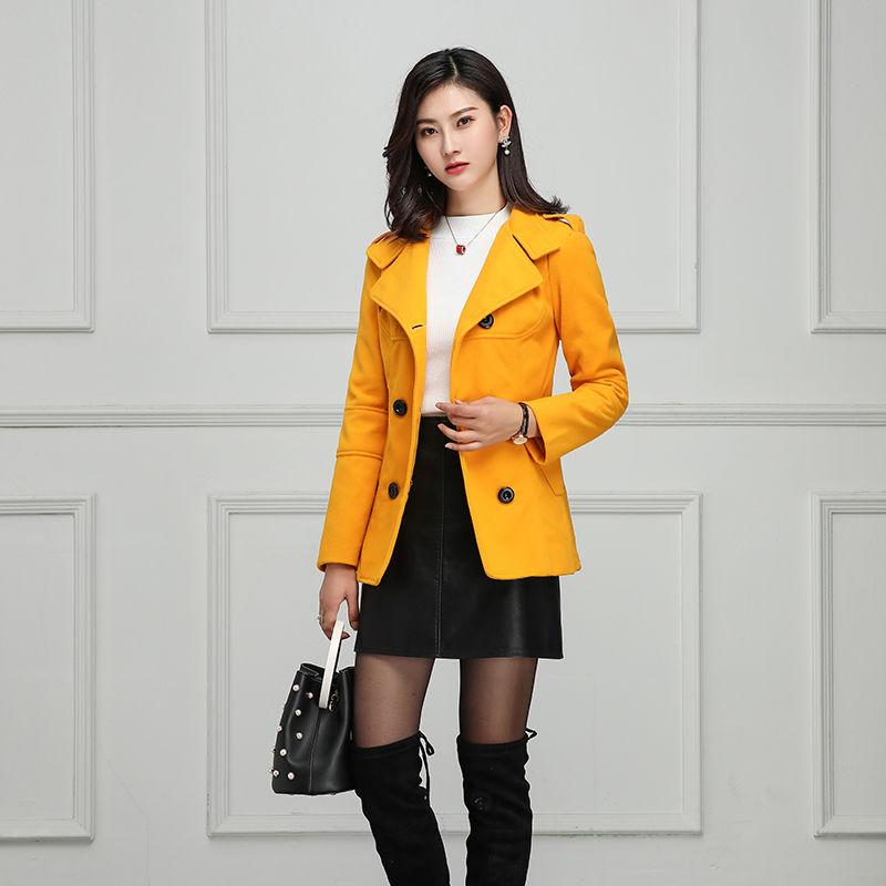 毛呢外套女款修身短款2019秋冬装小个子双排扣显瘦显高呢大衣
