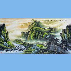 中美协会员,国家一级美术师,中央国宾礼*艺术家角振平(富水长流)