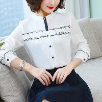 【新品特惠】 长袖衬衫女2019春夏季新款女装纯色宽松雪纺衬衣女士韩版上衣潮