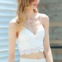 夏季修身蕾丝吊带背心短款女黑白色抹胸低胸打底衫性感内搭 白色 后背拉链