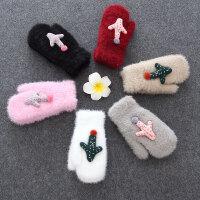 儿童手套5-12岁加绒保暖女孩可爱秋冬季加厚骑车手套连指