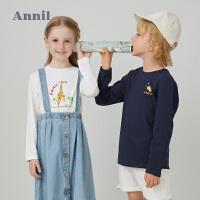 【直降价:86】安奈儿童装女童T恤长袖印花2020春季新款男童打底衫纯棉亲子装T恤