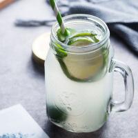 创意玻璃公鸡杯便携带把茶杯家用带盖水杯玻璃杯果汁杯 公鸡杯子