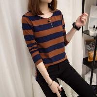 加绒/不加绒大码女装2019秋冬装韩版宽松长袖条纹T恤打底衫