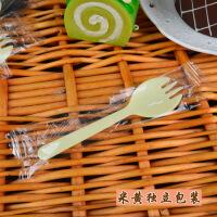 一次性加厚塑料叉子勺子一体独立包装冰激凌蛋糕勺叉 浅黄色