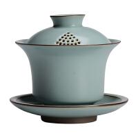 汝窑大号泡茶盖碗可养开片创意手抓壶茶杯家用功夫茶具