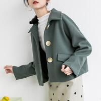 毛呢外套女秋冬季短款流行大衣韩版呢子小个子宽松上衣