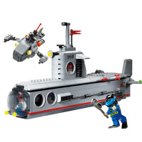 男孩子兼容城市军舰潜水艇拼装玩具儿童6-8-12岁玩具军事积木