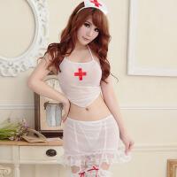 护士服性感蕾丝睡衣透明肚兜式诱惑情趣内衣肚兜系带角色扮演制服 白色 均码