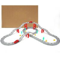儿童跑道汽车 合金轨道车电动赛车高铁小火车跑道汽车玩具儿童男孩场景套装礼盒 长款 标配