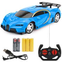 六一儿童节礼物可充电遥控汽车充电男孩电动无线遥控车赛车漂移小汽车带灯光遥控赛车 充电版-蓝-1组充电电池 送2节普通电