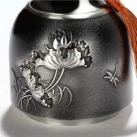 手工锡器茶叶罐中号纯锡密封普洱茶叶储茶罐锡罐 荷趣