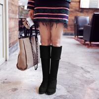彼艾2017秋冬季新款女式过膝长靴 瘦腿粗跟高跟水钻长筒弹力靴高筒靴骑士女靴子