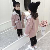 女童秋冬装外套2018新款韩版小女孩麂皮绒大衣儿童洋气冬装绒潮