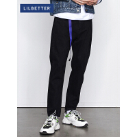 2.5折价:100;Lilbetter牛仔裤男潮牌韩版裤子潮流修身小脚裤男士黑色牛仔长裤