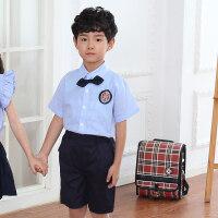 六一儿童演出服装女儿童节表演服背带裤幼儿园毕业照服装 蓝衬衫-黑裤子-男童 130cm