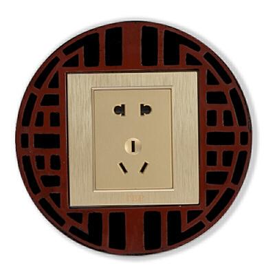 中式开关贴墙贴保护套古典中国风格客厅墙壁插座装饰灯开关保护套  购好货,上京东!购好货,来卓展!