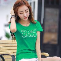 欧美女装短袖女t恤2019夏装新款女装上衣t恤棉妈妈小衫夏天绿色半袖紧身