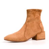 美体粗跟袜靴女短靴2018新款秋冬中跟短筒单靴 网红瘦瘦靴百搭袜子靴