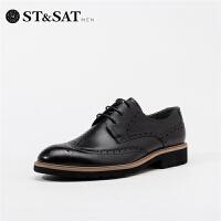 St&Sat/星期六2019春夏新款男鞋休闲商务系带皮鞋男SS91120702
