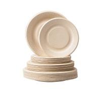 茶花(CHAHUA)一次性碗 茶花本色圆盘次性餐具可降解纸盘子家用加厚植物原浆户外烧烤野炊