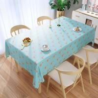 北欧桌布防水茶几垫塑料长方形PVC餐桌布布艺收纳用品家居日用防尘罩 绿底火烈鸟 默认16