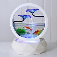 鱼缸造景装饰客厅小型生态桌面家用超白玻璃创意水族箱圆形金鱼缸