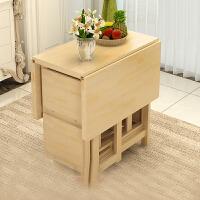 实木折叠餐桌小户型家用 伸缩桌 长方形多功能松木简约现代吃饭桌