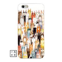 猫咪iphone6s手机壳X卡通抽象文艺复古创意苹果7防摔保护套8p软壳