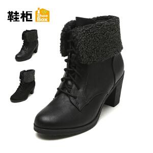 Daphne/达芙妮旗下鞋柜 冬款休闲时尚女靴系带粗跟中跟女靴