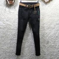 秋冬2019低腰黑色牛仔裤女修身弹力小脚长裤加厚抓绒绒铅笔裤