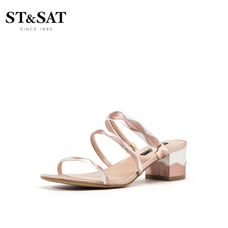 ST&SAT星期六2019夏季专柜同款凉拖粗跟一字带可外穿拖鞋SS92115342