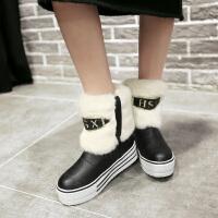 彼艾2017秋冬厚底平跟内增高保暖雪地靴防水台防滑毛毛短靴甜美学生雪地靴女靴