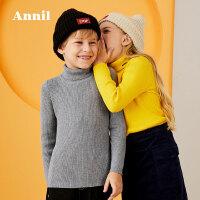 安奈儿童装女童针织衫长袖2019春秋装新款毛衫冬打底套头男童毛衣