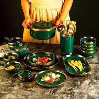 碗碟套�b家用�F代��s北�W新骨瓷餐具碗�P家用墨�G色�M合�W美陶瓷